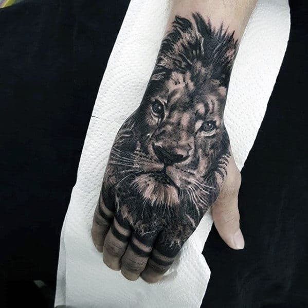 Hand And Forearm Guys Lion Tattoo Designs