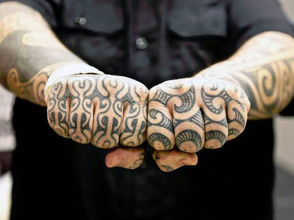 Hand And Tribal Knuckle Tattoos For Men