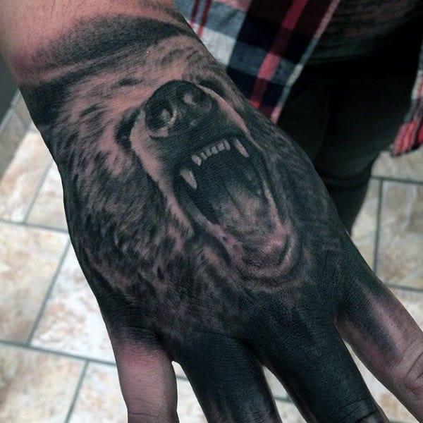 Hand Bear Men's Tattoo Designs