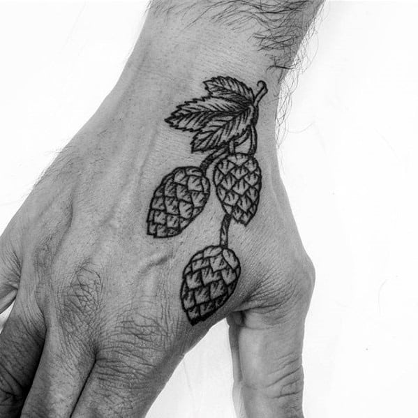 Hand Beer Hops Tattoos Guys