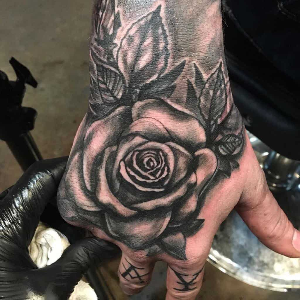 hand black and grey rose tattoos permanentaddictionstattoo