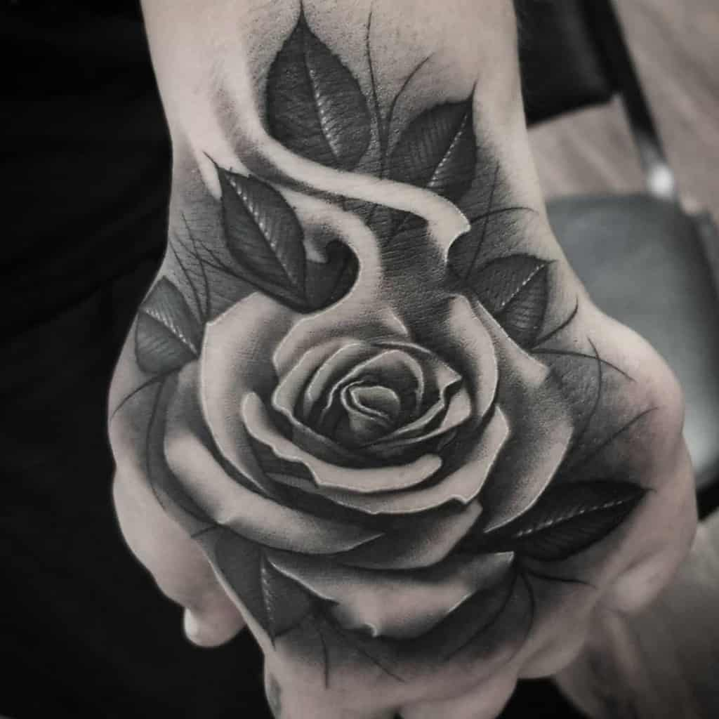 hand black and grey rose tattoos spookytat2