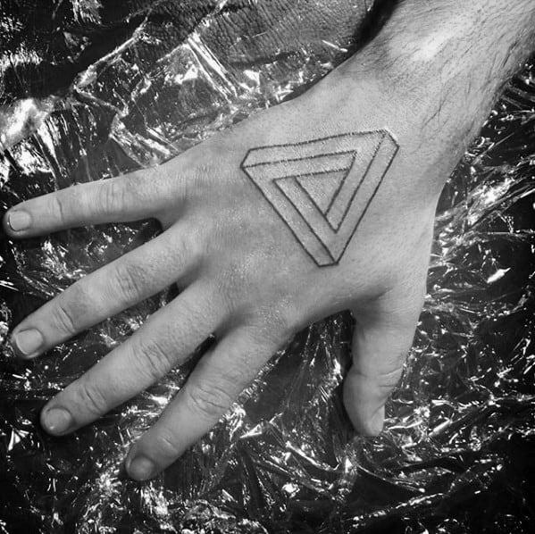 Hand Black Ink Lines Mens Penrose Triangle Tattoo Design Inspiration