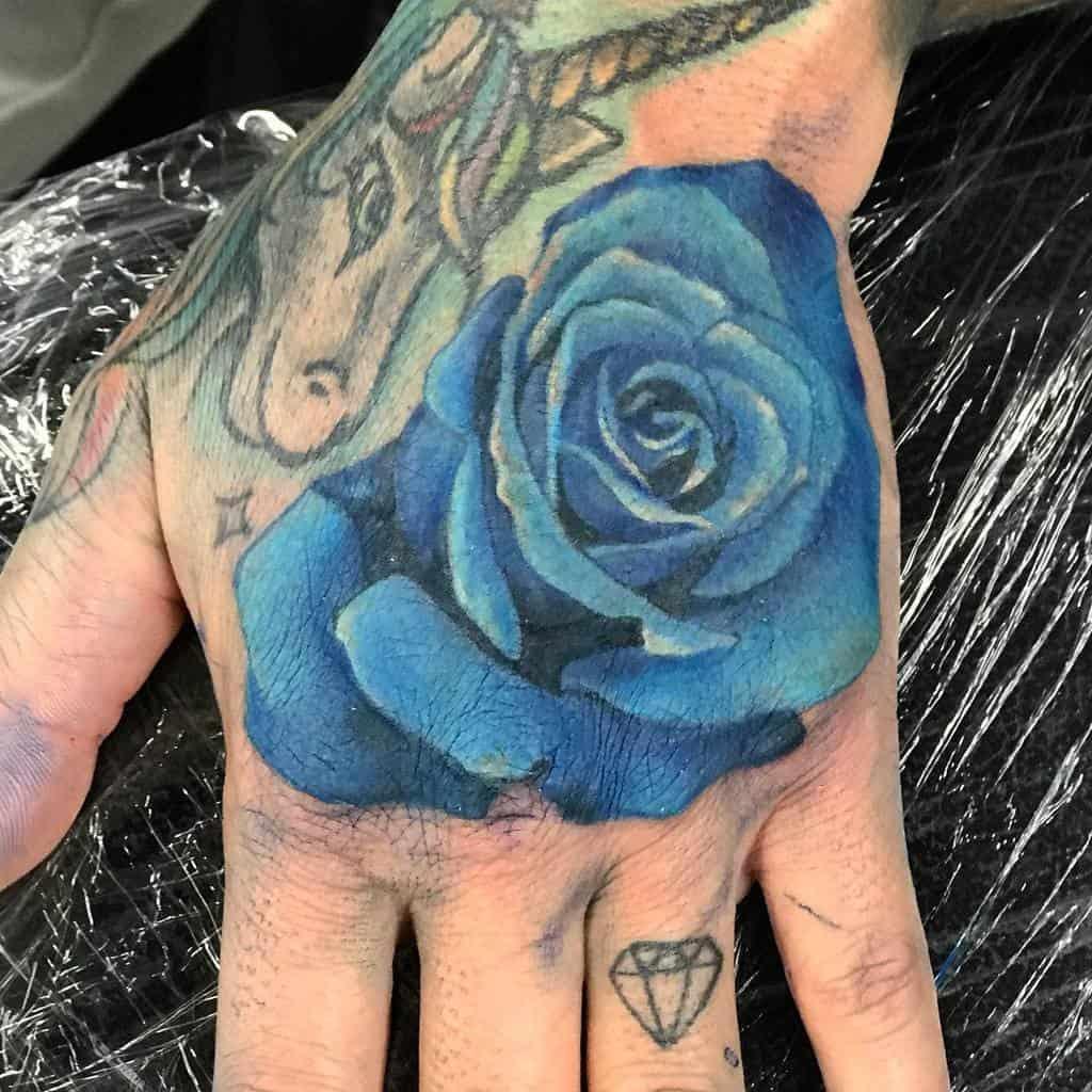 hand blue rose tattoos ob1kazoe