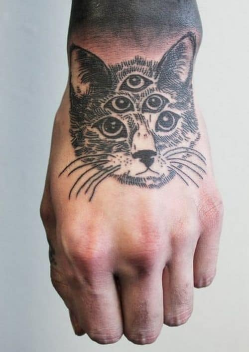 Hand Cat Geometric Tattoo
