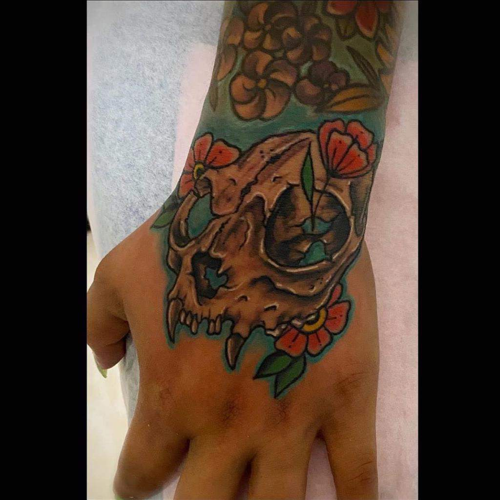 hand cat skull tattoo dalittlekitty_