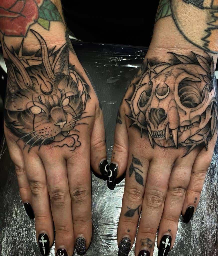 hand cat skull tattoo lost.ritual