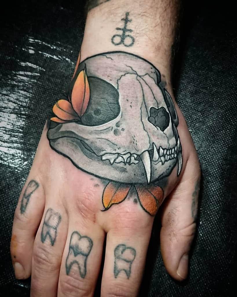 hand cat skull tattoo nataly_meredith