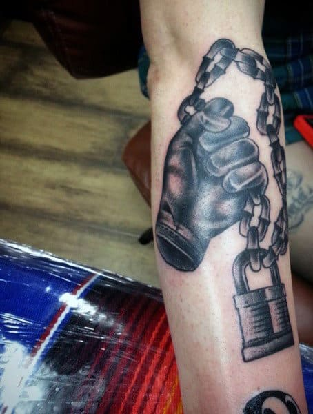 Hand Chain Lock Tattoo On Males On Inner Forearm