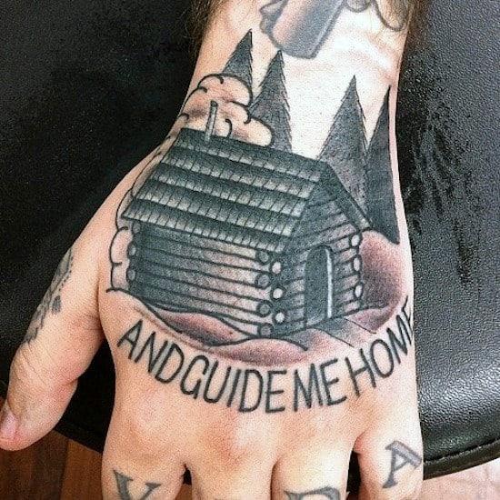 Hand Log Cabin Tattoo