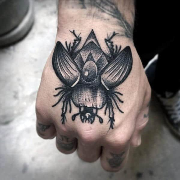 Hand Egyptian Beattle Tattoo