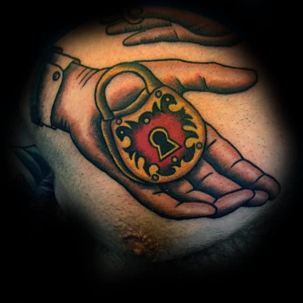 Hand Holding Lock Old School Chest Tattoos For Men