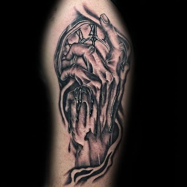 Hand Holding Melting Clock Mens Arm Tattoos