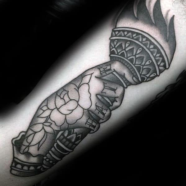 Hand Holding Torch Traditional Guys Forearm Tattoos