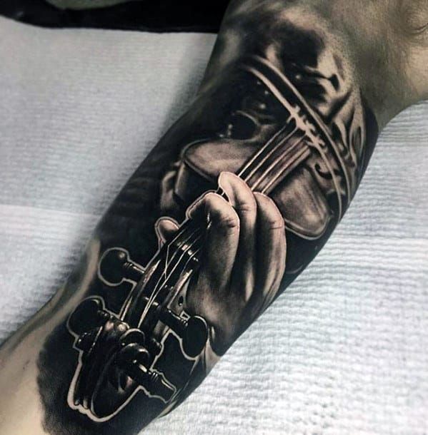 Hand Holding Violin Unbelievable Mens Inner Arm Bicep Tattoos