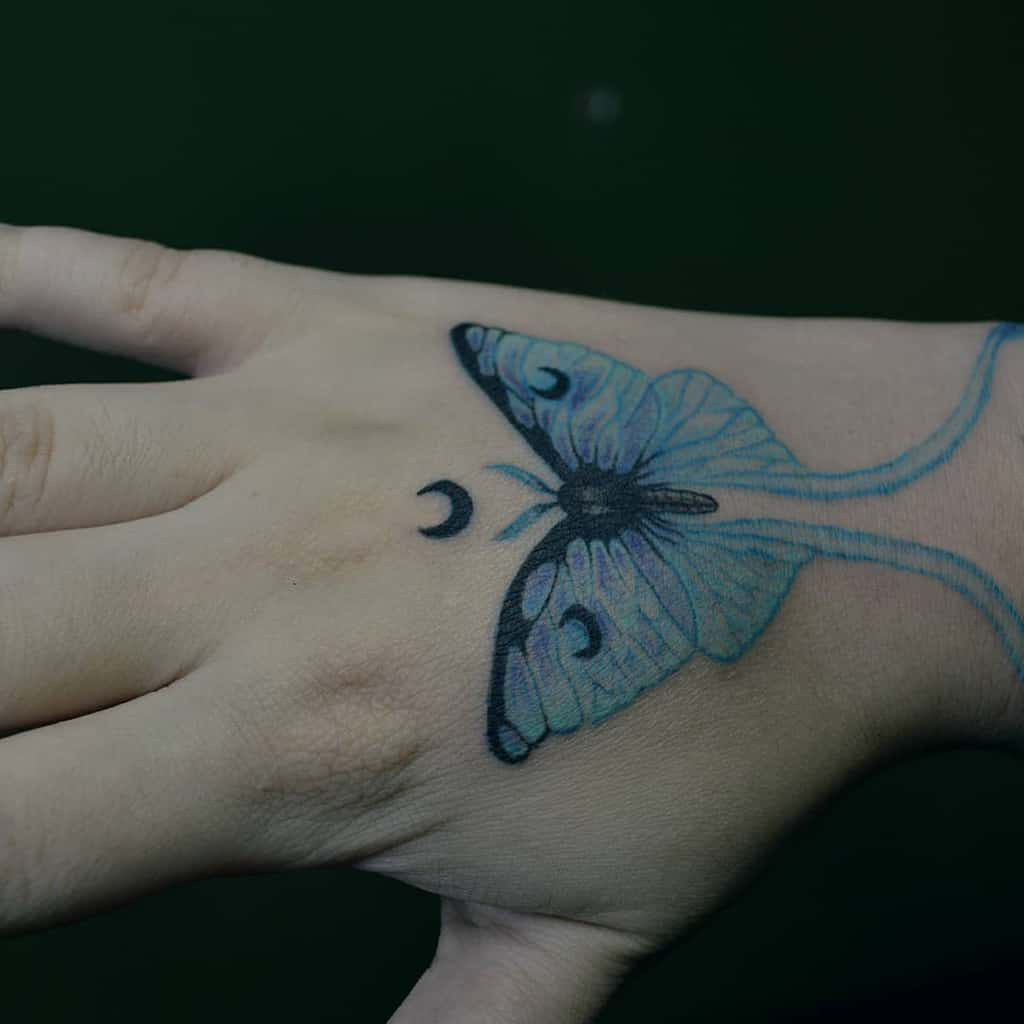 Hand Luna Moth Tattoo Barboseiratattoo