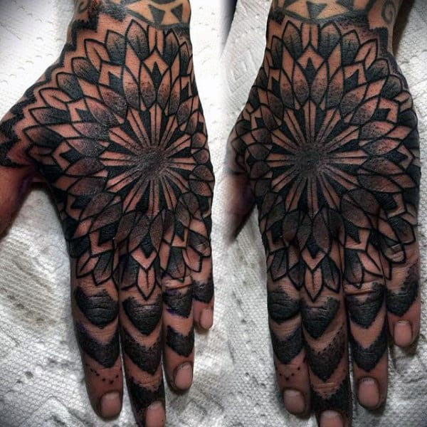 Hand Male Abstract Geometric Tattoos