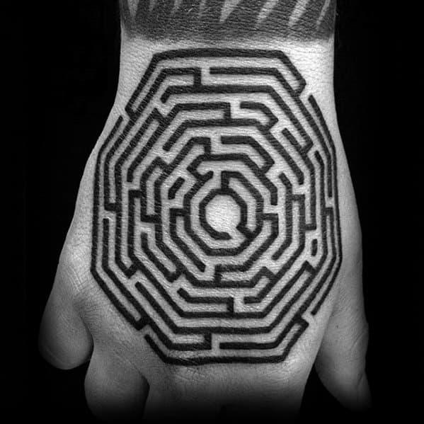 Hand Maze Guys Tattoo Designs