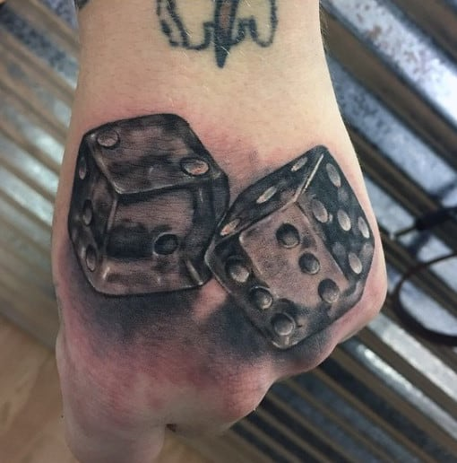 Hand Mens Tattoo Of A Pair Of Dice