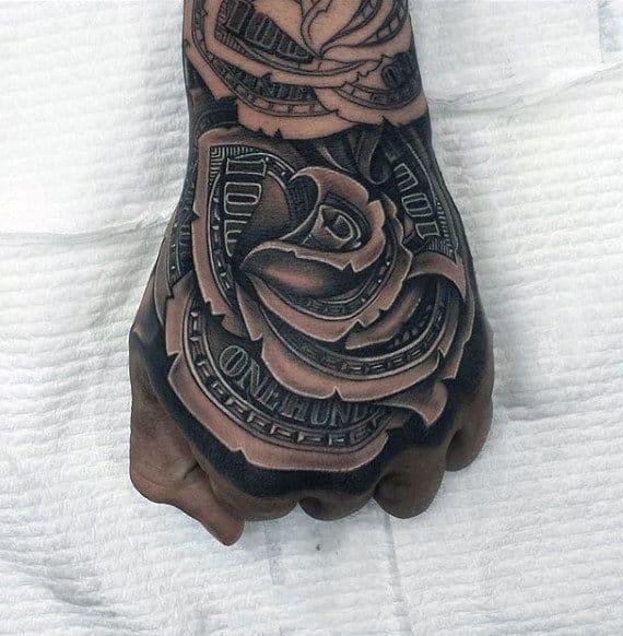 nexluxury money 6 rose hand tattoos