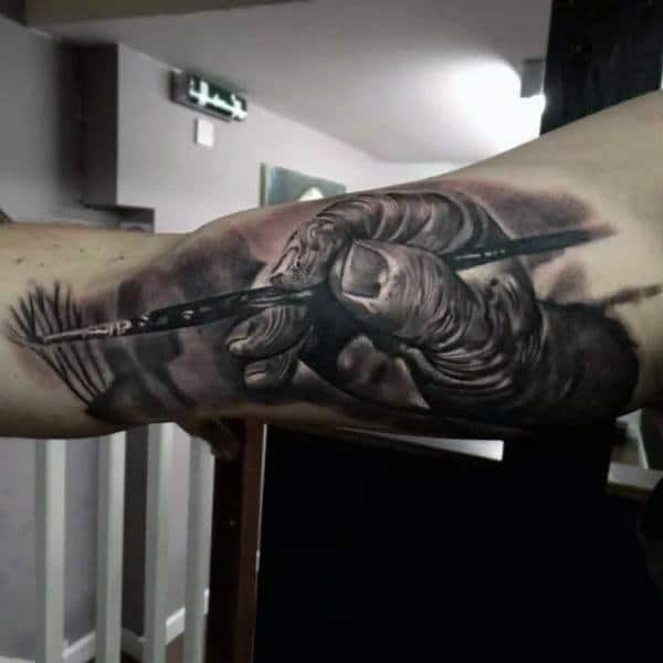 Hand Painting Mens Detailed Inner Arm Bicep Tattoo