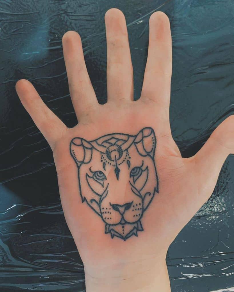 Hand Palm La Familia Lioness Tattoo