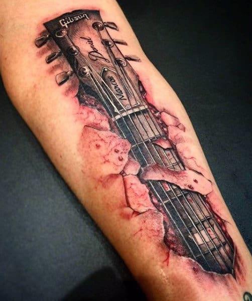 Hand Playing Guitar Men's Tattoo