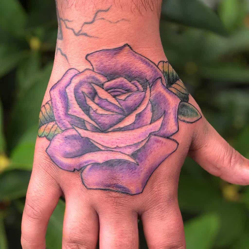 hand purple rose tattoos connorrudytattoos