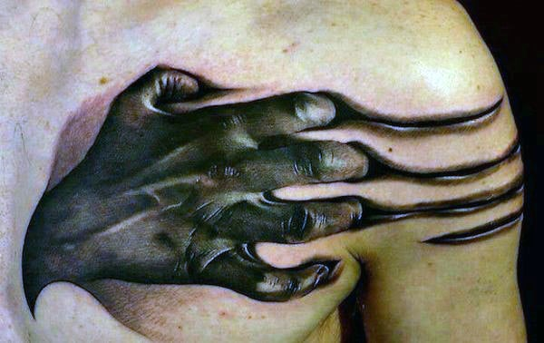 Hand Ripping Through Skin Optical Illusion Tattoo For Guys