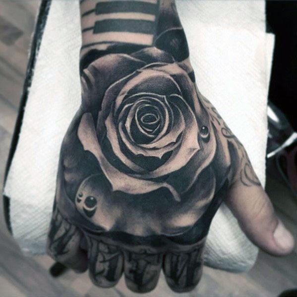 Hand Rose Flower Water Drop Guys Tattoo Ideas
