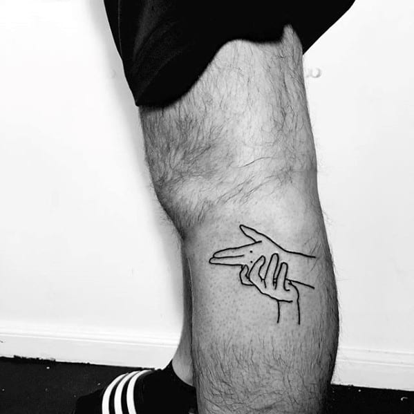 Hand Signal Mens Cool Simple Side Of Leg Tattoo