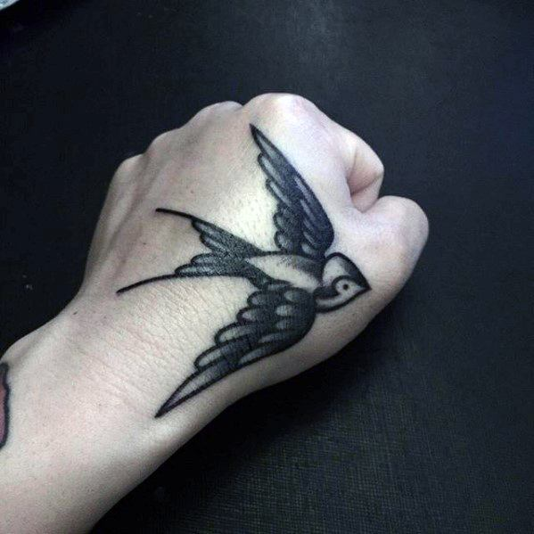 Small Sparrow Tradtional Tattoo: 50 Simple Traditional Tattoos For Men