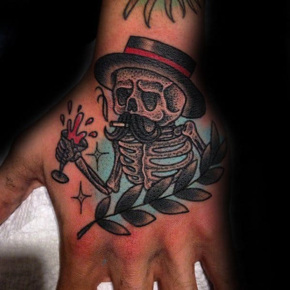 Hand Skeleton Drinking Wine Tattoo Design On Man