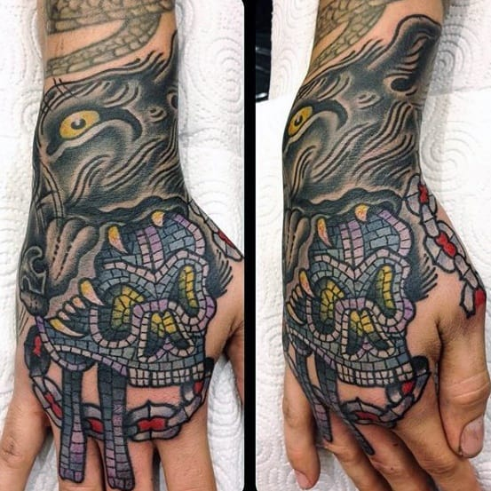 Hand Skull Male Cool Mosaic Tattoo Ideas