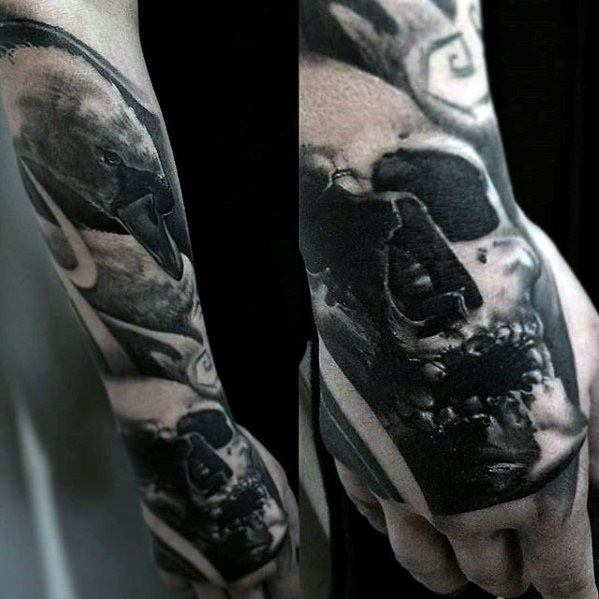 Hand Skull Swan Tattoo Ideas On Guys