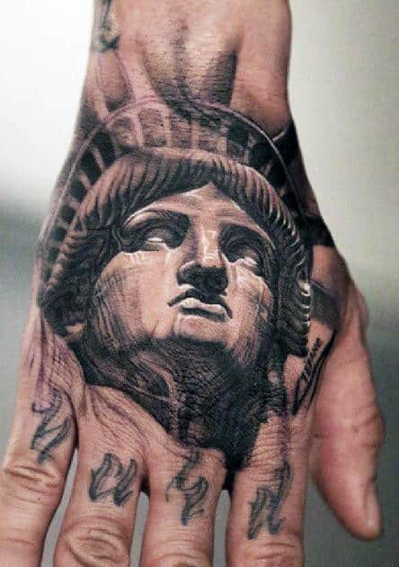 Hand Statue Of Liberty Tattoo For Men