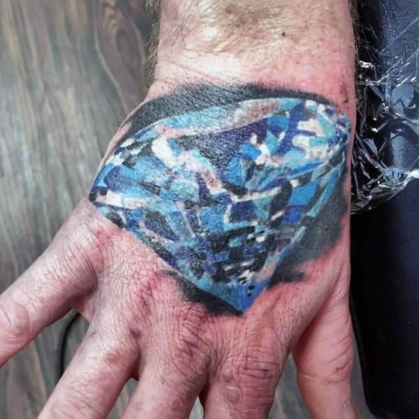 Hand Tattoo For Men Of Blue Diamond