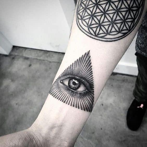 Hand Third Eye Black Tattoo