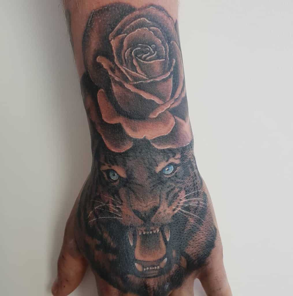 hand tiger rose tattoos andygibsontattoos