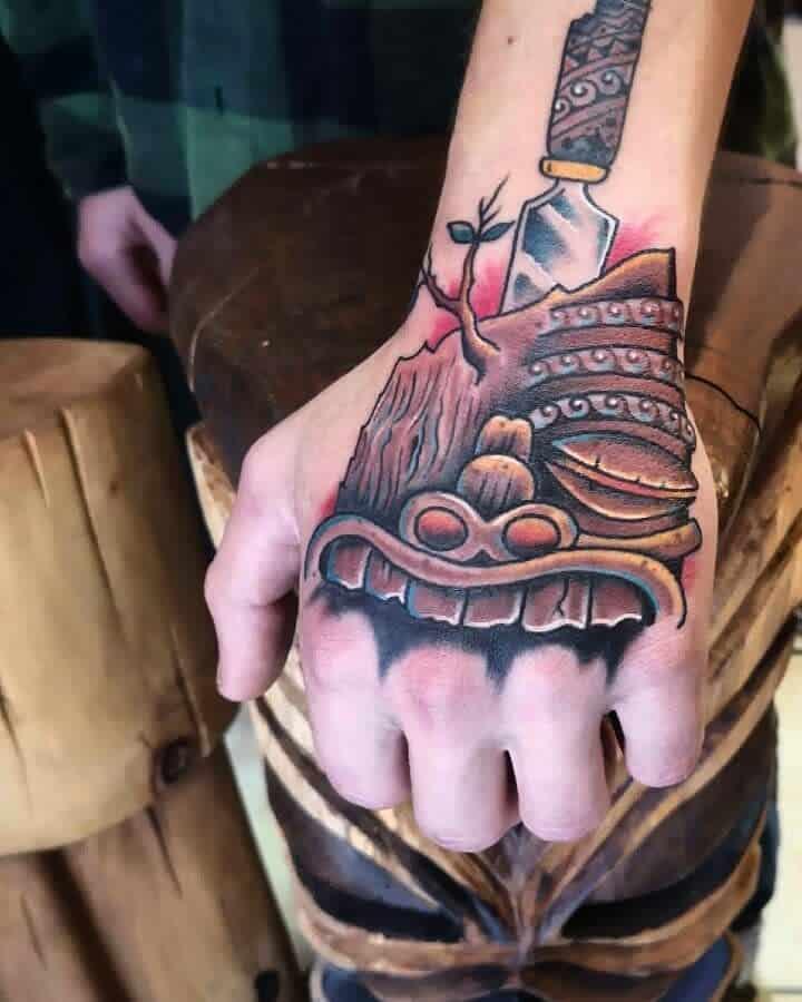 Hand Tiki Tattoo Manny Tattooer
