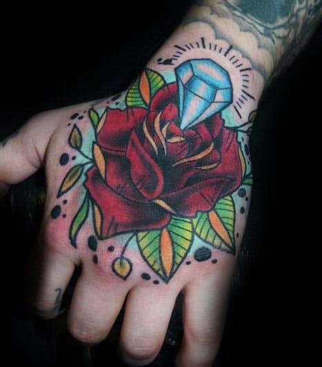 5994a20bd Hand Traditional Mens Red Rose Flower With Blue Glowing Diamond Tattoo Ideas