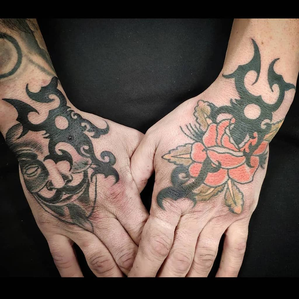 hand tribal rose tattoos diegocasastattoo