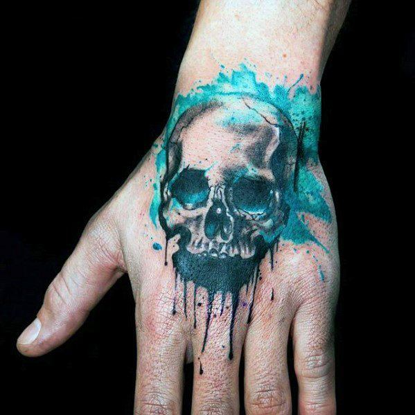 Hand Watercolor Skull Tattoo Ideas For Males
