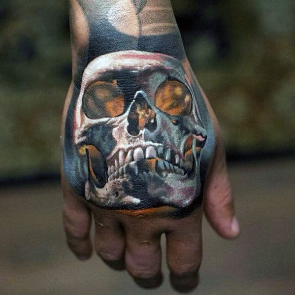 Hand White Ink Glowing Skull Guys Badass Tattoo Ideas