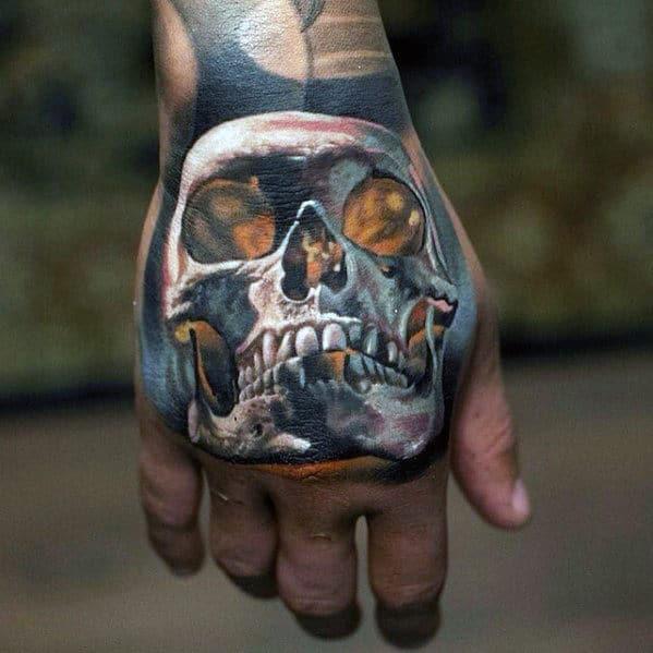 Hand White Ink Glowing Skull Guys Badass Tattoo Ideas