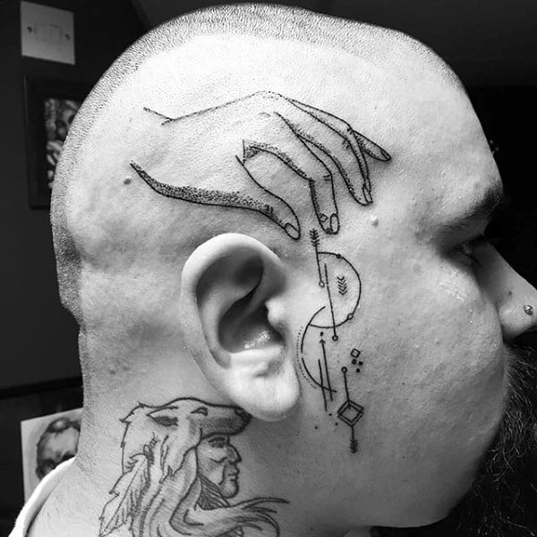 Hand With Geometrical Shapes Guys Face Tattoos