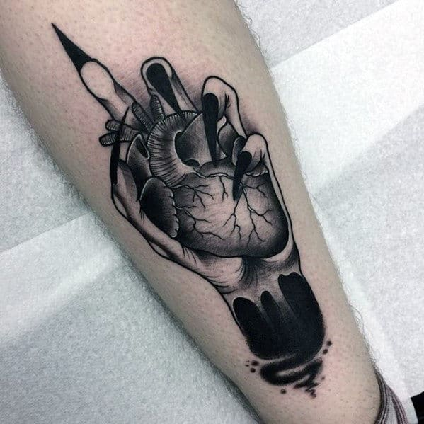 Hand With Heart Guys Artistic Different Leg Tattoo Designs