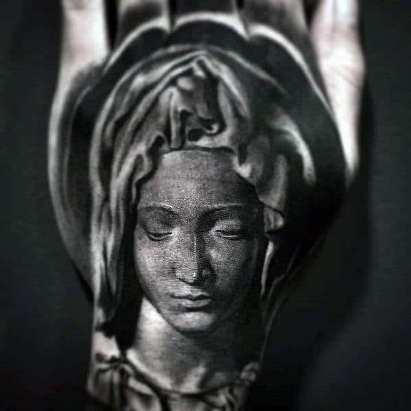 Hand With Mother Mary Design Guys Catholic Tattoo Ideas