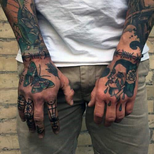 Hand Wrist Guys Barb Wire Tattoos