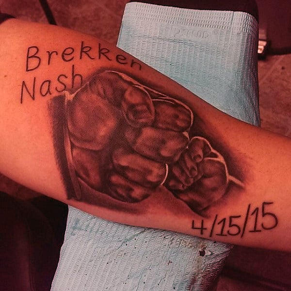 Hands Father Son Tattoo On Bicep For Men